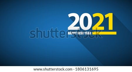 2021 Happy new year horizontal banner background or greeting card with text. vector 2021 new year numbers isolated on blue horizontal background