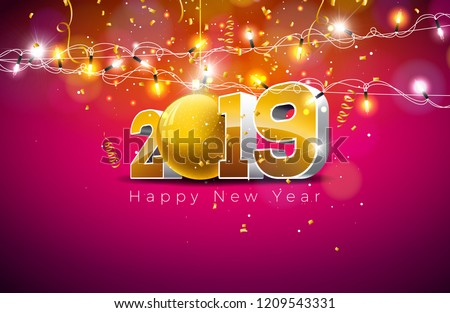 2019 Happy New Year illustration with 3d gold number, christmas ball and lights garland on dark background. Holiday design for flyer, greeting card, banner, celebration poster, party invitation or