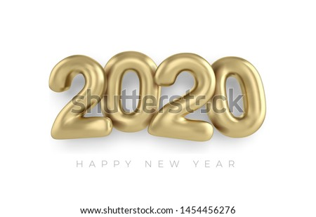 2020 Happy new year in gold. Numbers minimalist style 2020 balloon isolated. Vector realistic 2020 balloons in 3D style in gold color. Design of greeting card, banners, posters, headline