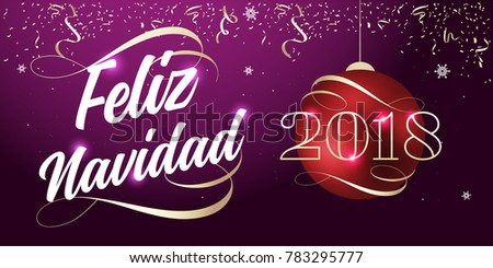 2018 happy new year lettering ribbon typography spanish feliz navidad