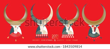 2021 Happy New Year, Merry Christmas greeting vector postcard, banner, poster. Eastern Chinese year lunar calendar mascot - Ox, cow, bull heads in abstract graphic geometric  folk decorative style.