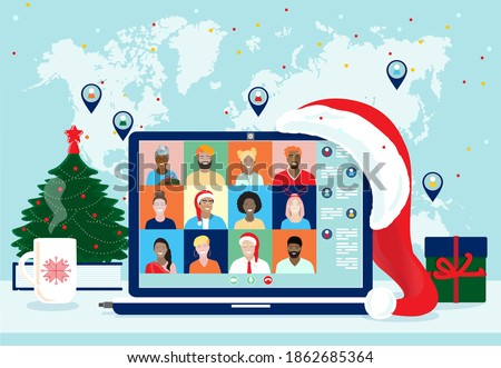 2021 Happy New Year, Merry Christmas, virtual business team meeting, diverse group of students at x-mas online party, celebrating from home. Laptop screen, fir tree, gift box, Santa hat, world map