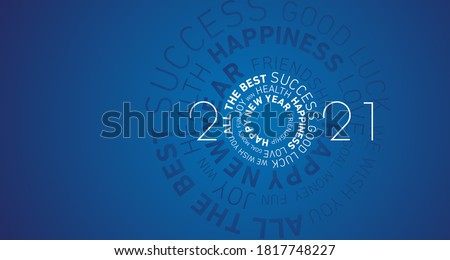 2021 Happy New Year modern abstract circle word cloud text white shining bold light typography blue greeting card banner