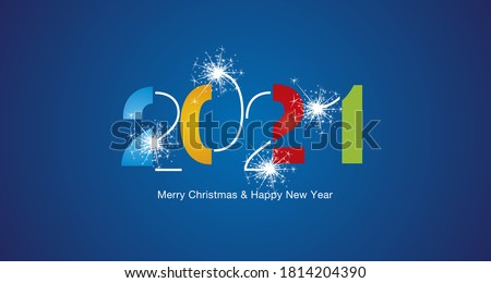 2021 Happy New Year modern black light typography sparkle firework colorful white blue vector greeting card