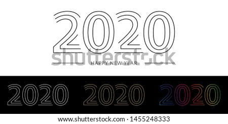 2020 Happy New Year. 2020 modern text vector design with line white black gold and spectrum gradient colors.