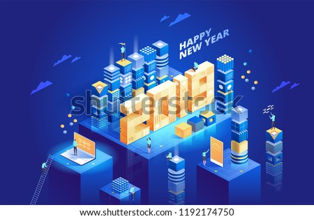 2019 Happy New Year. New innovative ideas. Digital technologies. Vector illustration