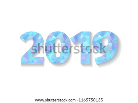 2019 Happy New Year. New Year 2019 greeting card. Blue numbers 2019 isolated on white background. Vector illustration.