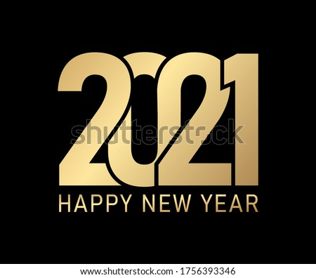 2021 happy new year on Black background, 2021 gold letter