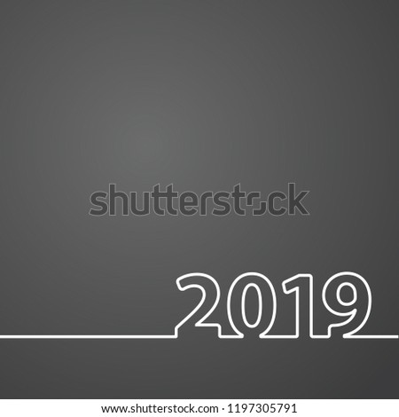 2019 Happy New Year or Christmas Background creative greeting card design, can be used for flyers, invitation, posters, brochure, banners, calendar. #1197305791