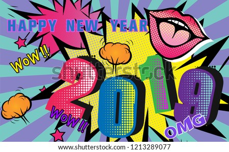 2019 happy new yearpop art retro backgroundcomic cartoon styletemplate design