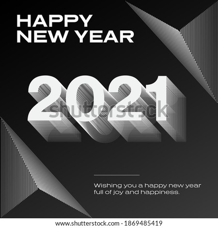 2021 Happy New Year Poster Vinyl Cover Corporate Branding with modern design with triangle shapes geometric lines pattern style minimalist black and white red idea dynamic music