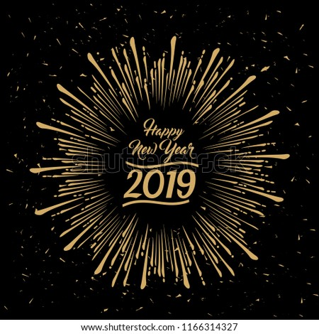 2019 Happy New Year radiating grungy star burst gold design on black background with an effect of dust and scratches in vector style