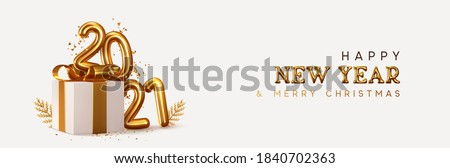 2021 Happy New Year. Realistic gift box Golden metal number. 3d render gold metallic sign and text letter. Celebrate party 2021. Christmas Poster, banner, cover card, brochure, flyer, layout design