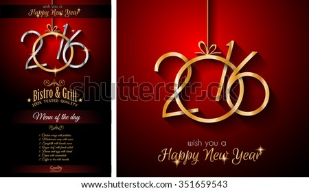 2016 happy new year restaurant menu template background for seasonal