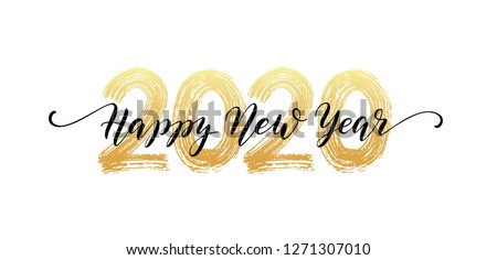 2020 Happy New Year script text hand lettering. Design template Celebration typography poster, banner or greeting card for Merry Christmas and happy new year. Vector Illustration