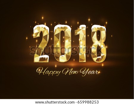 2018 happy new year snow background.merry Christmas. #659988253