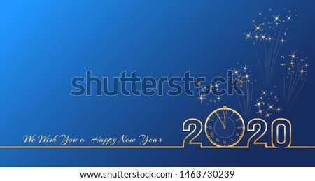 2020 Happy New Year text design with golden numbers and vintage clock on blue background with fireworks. Holiday banner, poster, greeting card or invitation template. End of the year countdown.