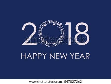 2018 happy new year text for card for your design vector illustration