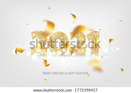 2021 Happy New Year. Tradicional lettering text for Happy New Year or Merry Christmas. Holiday background with golden bokeh number 2021. Light vector Illustration