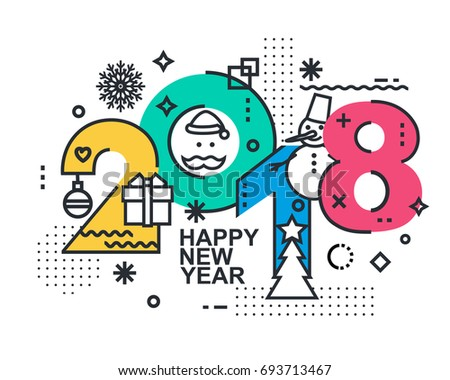 2018 happy new year trendy card or background modern thin contour line design concept