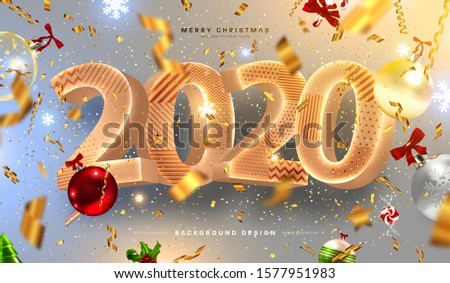 2020 Happy New Year trendy cover background design with liquid dynamic fluid spheres and Christmas toys for greeting card, banner, placard or poster. Eps10 vector illustration