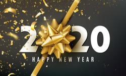 2020 Happy New Year vector background with golden gift bow, confetti, white numbers. Christmas celebrate design. Festive premium concept template for holiday. In my portfolio you can find for 2021