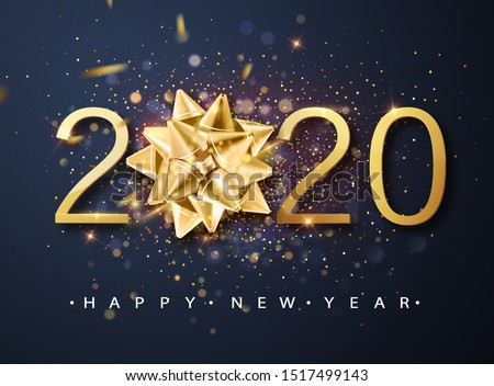 2020 Happy New Year vector background with golden gift bow, confetti, white numbers. Winter holiday greeting card design template. Christmas and New Year posters.