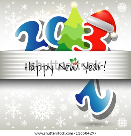 2013 Happy New Year vector card or background with Santa`s hat, snowflakes, stars.