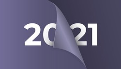 2021, happy new year vector. Change or open paper wrap to change 2020 to 2021. 3D and realistic style. for design element, calendar, background, banner, greeting card. black purple color. numbers 2021
