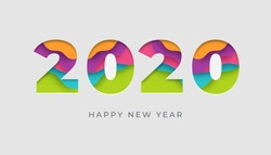 2020 happy new year vector colorful card or banner in paper cut style. Eps 10