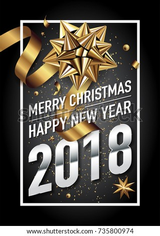 2018 happy new year vector greeting card and poster design with golden ribbon and star. #735800974