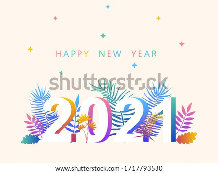 2021. Happy New year. Vector illustration. New year symbol vector illustration. Tropical leaves 2021. Happy new year 2021 creative greeting card design. Floral design for calendar. Tropical banner