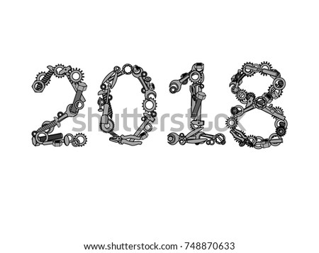 2018. Happy new year vector number from hardware tools. Numbers written with nuts, bolts and screws