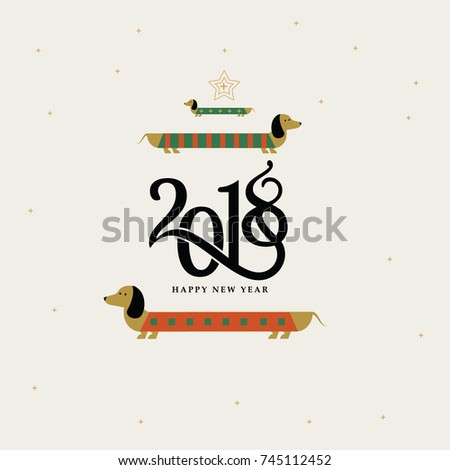 2018 happy new year Vector winter card writing calligraphic numbers 2018 and congratulations with happy New Year dog image Christmas dog Dachshund,2018 happy new year dog