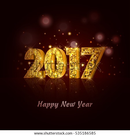 2017 happy new year with gold particles. glowing background.