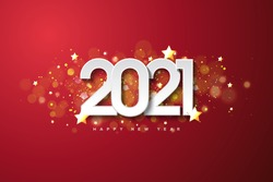 2021 happy new year with white numbers on dark red background.