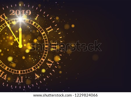 2019 Happy New Years background. Count down time five minutes to midnight. Merry Christmas, card, banner, poster. Vector illustration
