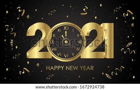 2021. happy new years. with clock gold and black design. Vector Illustration
