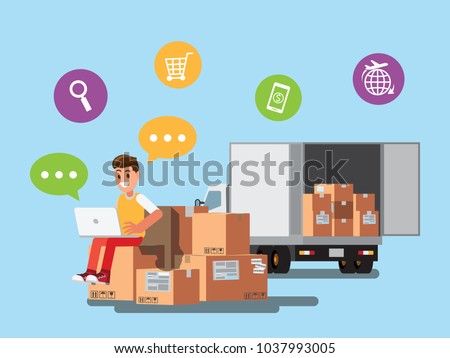 Happy  selling products online.. seller check product order for delivery to customer. Online selling, e-commerce, shipping concept ,Vector illustration cartoon business character design.