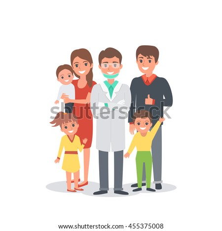 Happy smiling family and dentist. Vector illustration isolated.
