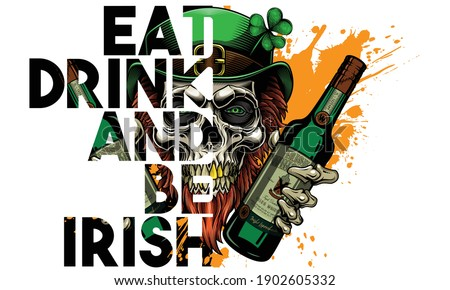 'Happy St. Patrick's Day. Eat, drink and be Irish'. - greeting card design.  Vector illustration of bearded leprechaun skull with bottles of whiskey in his hands in engraving technique.  Сток-фото ©