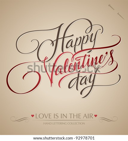 stock vector : 'happy valentine's day' hand lettering - handmade calligraphy; scalable and editable vector illustration (eps8);