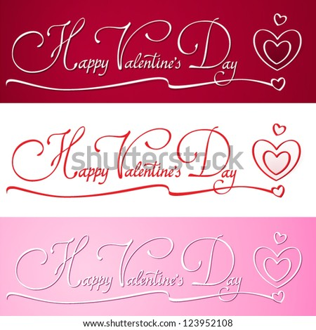 'happy valentine's day' hand made lettering. happy valentine's day hand lettering and hearts. Hand made calligraphy. Love