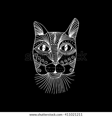 head of cat doodle style