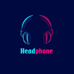Headphone earphone headset for music line pop art potrait logo colorful design with dark background. Abstract vector illustration.