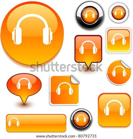 headphones vector glossy icons. - stock vector