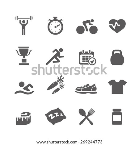 Health and Fitness icons  vector set icons with a stopwatch bodybuilder weights dumbbells heart with pulse trainer shoes bottled water