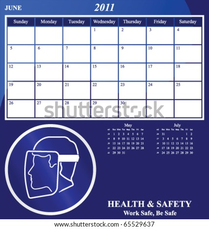 2011 Health and Safety calendar for the month of June