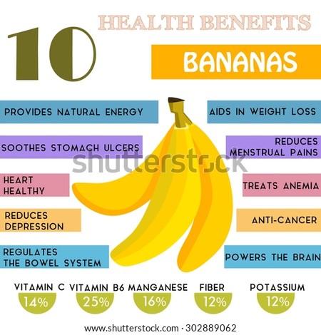 10 Health benefits information of Bananas. Nutrients infographic,  vector illustration. - stock vector