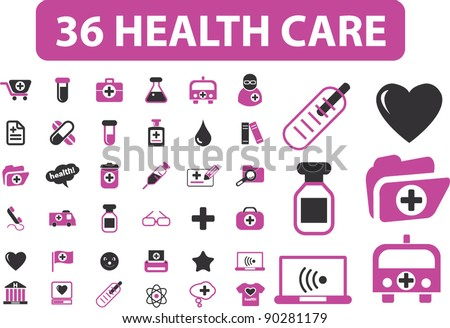 36 health care icons set, vector